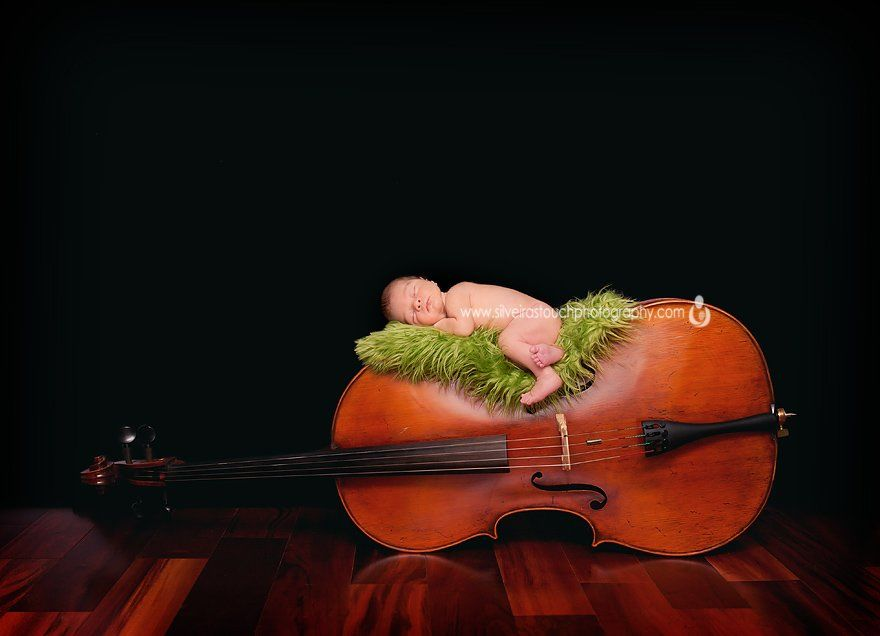 newborn on cello photo