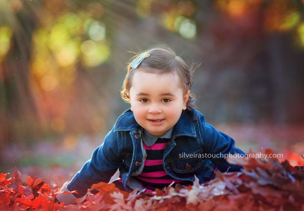 outdoor fall photo smiling baby