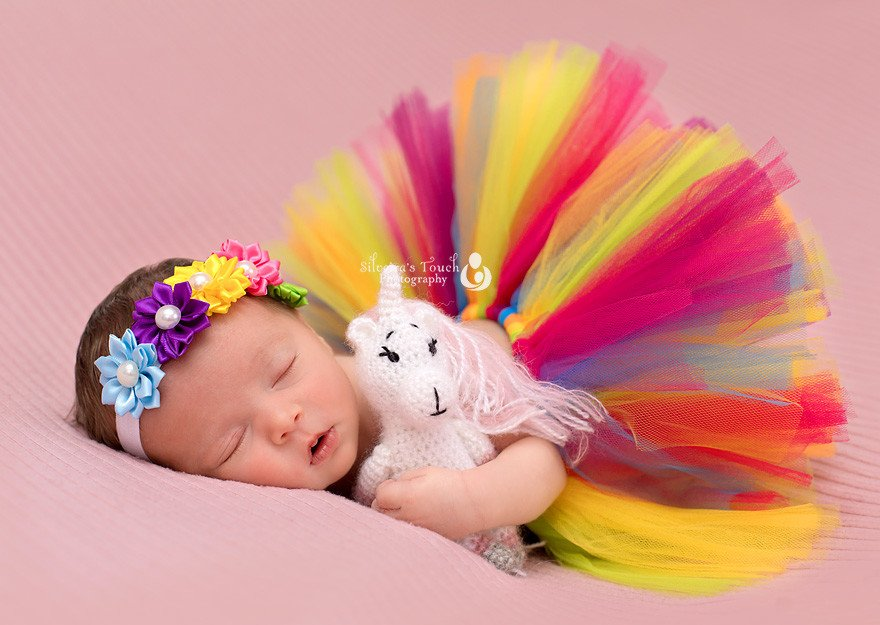 newborn photography nj baby girl rainbow dressed