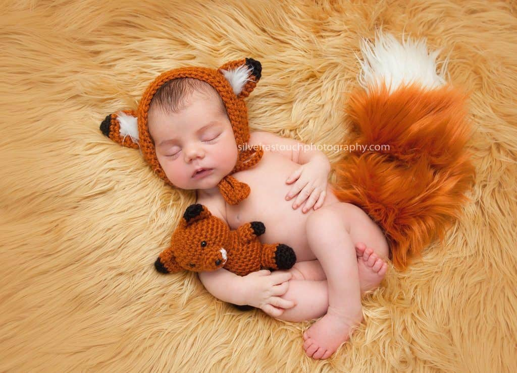 succasunna nj newborn photography of baby with a fox outfit sleeping