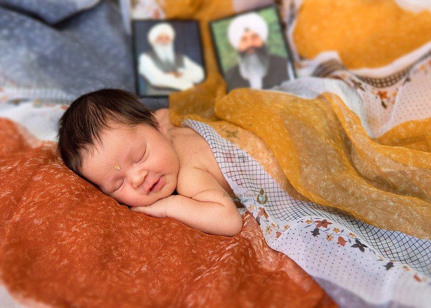 Indian newborn photoshoot with Saree