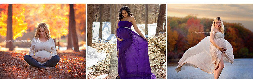 Maternity session of mom to be wearing a purple maternity gown