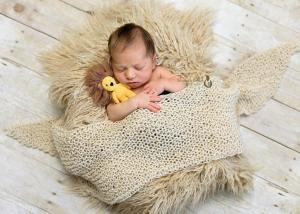 newborn baby photography of little boy holing lion toy