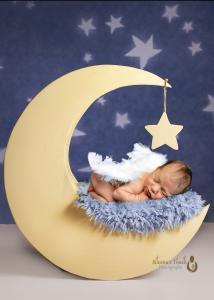 Mount Olive NJ Newborn photography of baby boy sleeping on the moon
