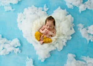 Newborn photography NJ of baby boy on clouds backdrops