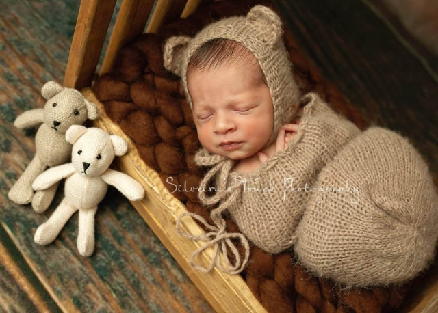 baby boy in bear outfit prop