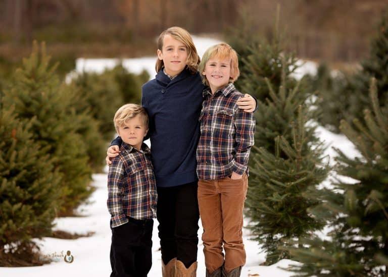 3 brothers photo at a christmas tree farm