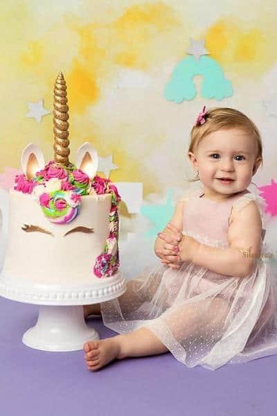 nj baby photoshoot baby and birthday cake