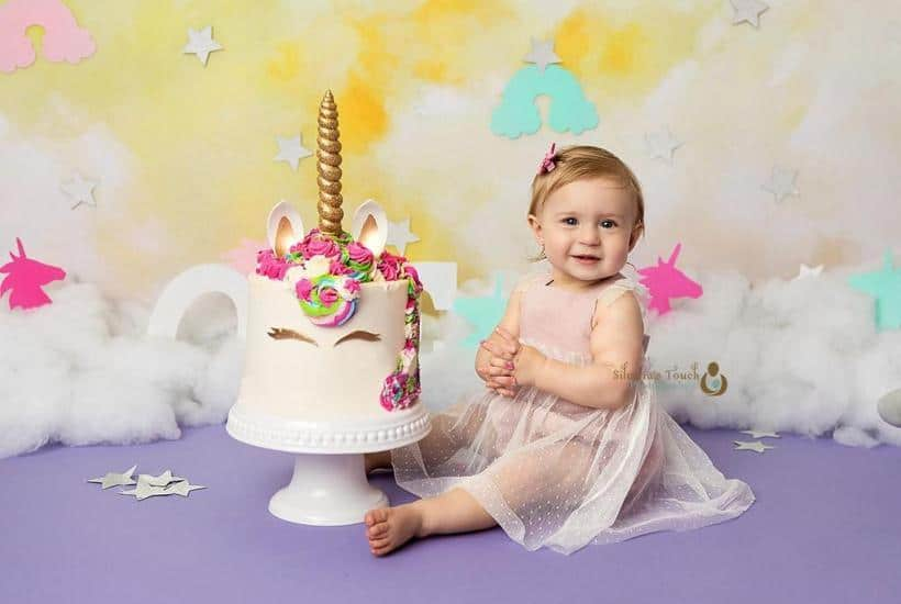nj baby photoshoot baby and birthday cake