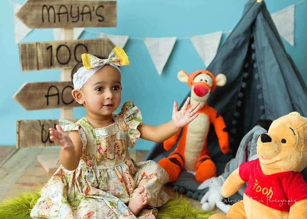 pooh bear birthday photo session girl