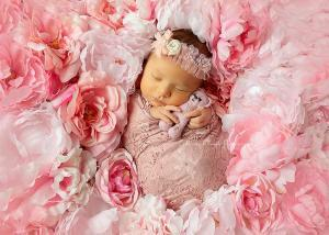 newborn baby girl on pink flower