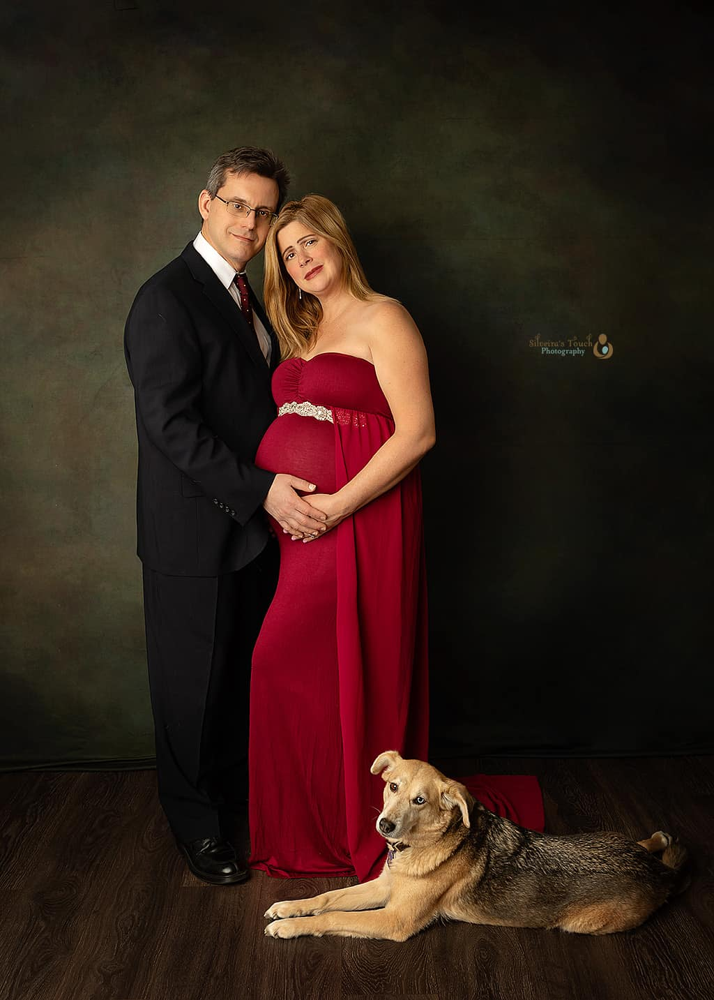 NJ maternity couple in studio with dog